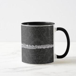 Silver Flute on Black Damask Mug