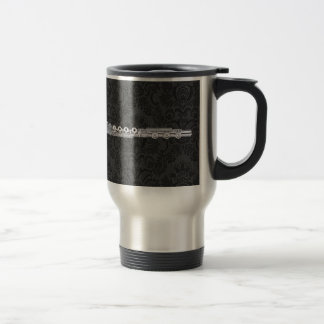 Silver Flute on Black Damask Travel Mug