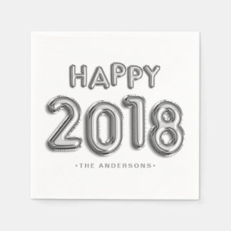 Silver Foil Balloons Happy 2018 | New Year Paper Napkin