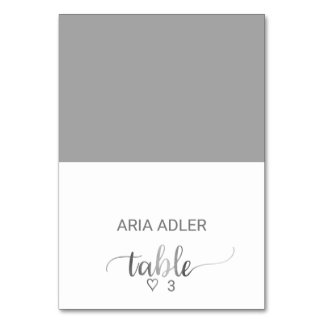 Silver Foil Calligraphy Wedding Escort Place Cards