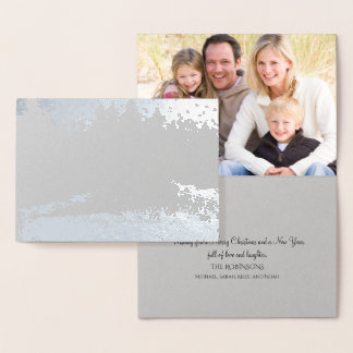 Silver Foil Christmas Forest Photo Card