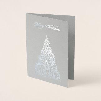 Silver Foil Christmas Tree Christmas Card