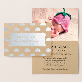 Silver Foil Clouds Baby Shower Photo Thank You Foil Card