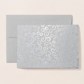 Silver Foil Curves on Grey Foil Card