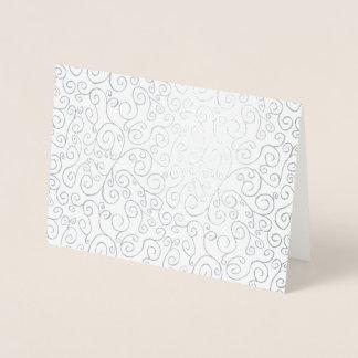 Silver Foil Curvy Pattern on White Foil Card