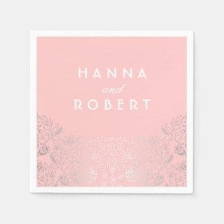 Silver Foil Effect Floral Countryside Pink Wedding Disposable Serviette