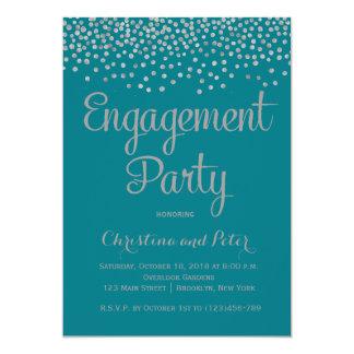 Silver Foil Faux Dots Engagement Party Invitation
