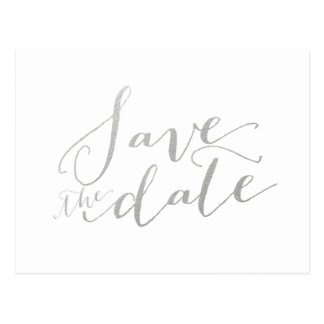 Silver Foil Glamor | Save the Date Postcard