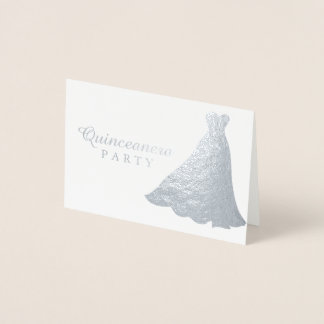 Silver Foil Gown Dress Quinceanera Party Invite