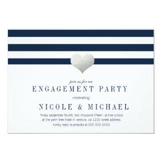 Silver Foil Heart + Stripes Engagement Party Card