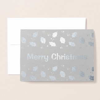 Silver Foil Holly Leaves Snowy Christmas Greetings Foil Card