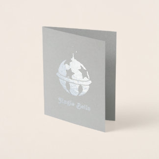 Silver Foil Jingle Sleigh Bell Christmas Card