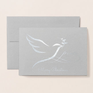 Silver Foil Peace Dove Card