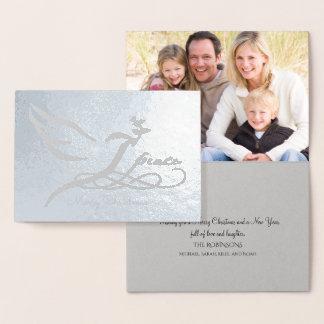 Silver Foil Peace Dove Photo Card