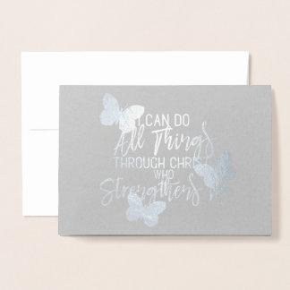 Silver Foil Philippians 4:13 with Butterflies Foil Card