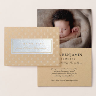 Silver Foil Prince Crowns Baby Shower Thank You Foil Card