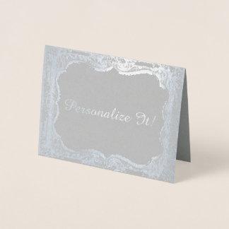 Silver Foil Print Victorian Frame Foil Card