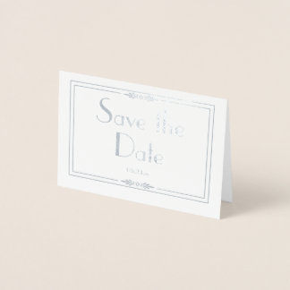 Silver Foil  Save the Date Card