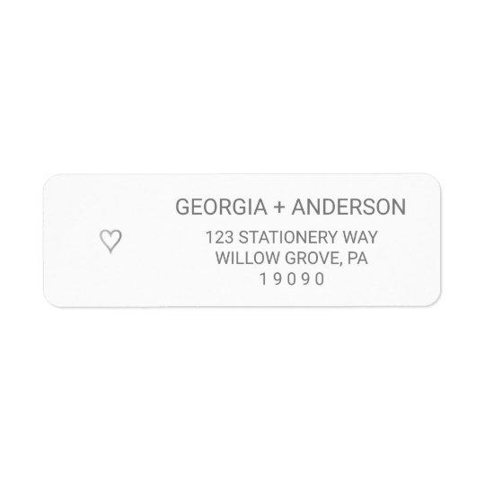 Silver Foil Simple Heart Wedding Return Address Label