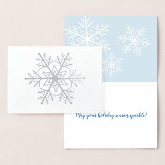 Silver Foil Snowflake Holiday Card