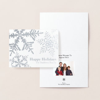 Silver Foil Snowflake Photo Inside Holiday Card
