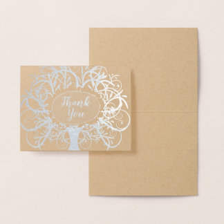 Silver Foil Swirl Tree Thank You Foil Card