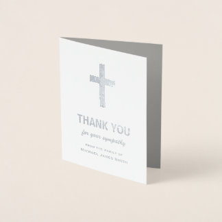 Silver Foil Sympathy Thank You Card with Cross