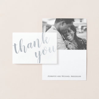 Silver Foil Thank You with Photo and Name Foil Card