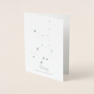 Silver Foil VIRGO Zodiac Sign Constellation Foil Card
