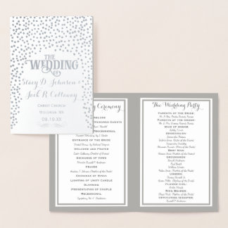 Silver Foil WEDDING PROGRAM Confetti Foil Card