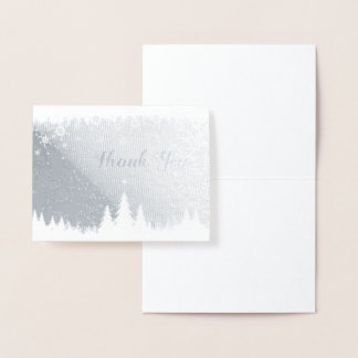 Silver Foil Winter Scene Thank You Note Foil Card