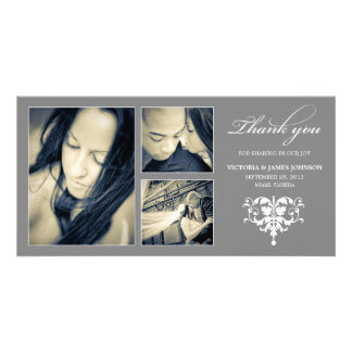 SILVER FORMAL COLLAGE | WEDDING THANK YOU CARD PERSONALIZED PHOTO CARD