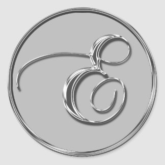 Silver Formal Wedding Monogram E Seal