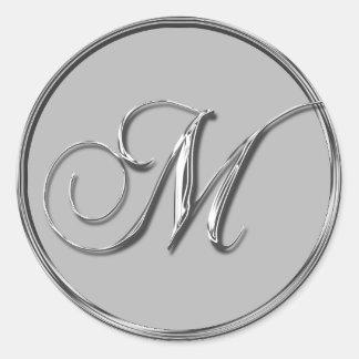 Silver Formal Wedding Monogram M Seal Round Sticker