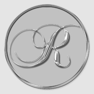 Silver Formal Wedding Monogram R Seal Monogrammed Round Sticker