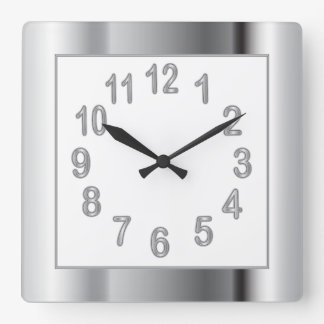 Silver Frame and Numbers | Choose Background Color Square Wall Clock