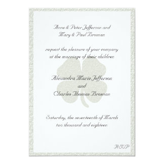 Silver Frame Shamrock, Wedding Invitation