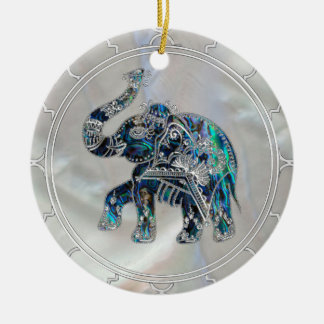 Silver Framed Elephant on Abalone and Pearl Ceramic Ornament