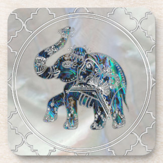Silver Framed Elephant on Abalone and Pearl Coaster