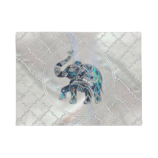 Silver Framed Elephant on Abalone and Pearl Doormat