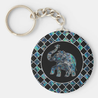 Silver Framed Elephant on Abalone and Pearl Key Ring