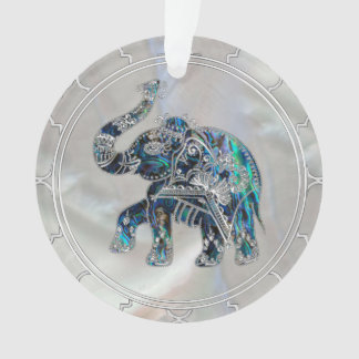 Silver Framed Elephant on Abalone and Pearl Ornament