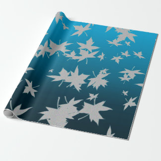 Silver Frosted Winter Leaves Wrapping Paper