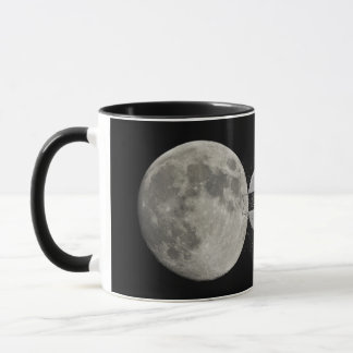 Silver Full Moon with Metallic Grunge Badge Crater Mug