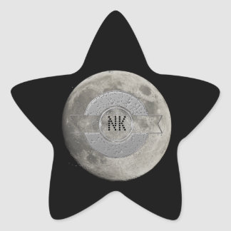 Silver Full Moon with Metallic Grunge Badge Crater Star Sticker
