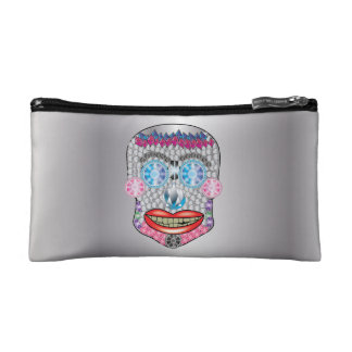 Silver Gemma Candy Skull Makeup Bag