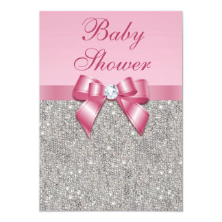 Silver Gems, Bow & Diamonds Girls Pink Baby Shower 13 Cm X 18 Cm Invitation Card