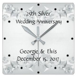 Silver Geometric 25th Wedding Anniversary Square Wall Clock