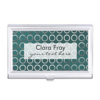 silver geometric circles pattern | turquoise green business card holder