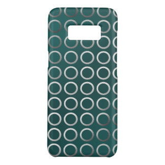 silver geometric circles pattern | turquoise green Case-Mate samsung galaxy s8 case